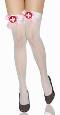 Cute! White Thigh High Sheer Nurse Costume STOCKINGS with Pink Satin Bows 7809