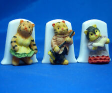 Birchcroft China Thimbles -- Set of Three -- Cameo Cats Assorted