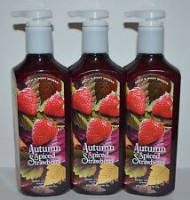 LOT OF 3 BATH BODY WORKS AUTUMN SPICED STRAWBERRY DEEP CLEANSING HAND SOAP WASH