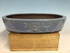 "Blue Glazed Tokoname Bonsai Tree Pot By The Yamaaki Kiln 16 1/8"" Floral Motif"