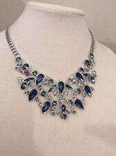 Givenchy SILVE-tone Blue Stone Bib Necklace $225 207B