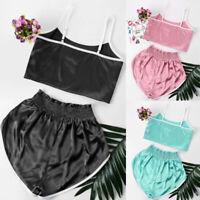 1Set Summer Women Satin Silk Binding High Cut Shorts Crop Tops+Hot Shorts New