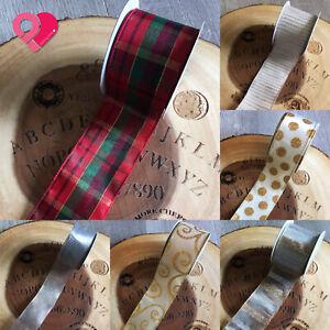"2.5"" Wired Ribbon Red Green Scottish Plaid Check Gold Stripe Canvas Velvet 10 yd"