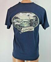 Vtg 90s QUIKSILVER 2-sided Tropical Ocean Surf Skate T-shirt Sz M Blue