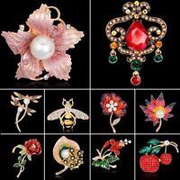 Crystal Rhinestone Pearl Flower Dragonfly Bee Brooch Pin Wedding Bride Jewellery
