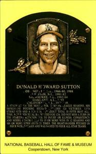 Hall Of Fame Yellow Plaque Autographed Baseball Postcard Don Sutton L A Dodgers