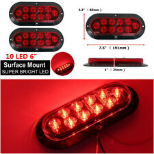 2Pcs 6'' Red 10-LEDs Car Truck Tail Lights Brake/Stop/Turn Signal Side Lamps 12V
