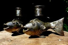 Vintage antique fish shaped candlestick holder unique design brass silver plate