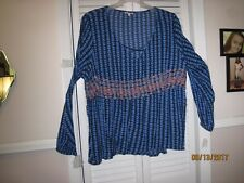 Women's 2X Multi-Colored Pull-Over Gauze blouse