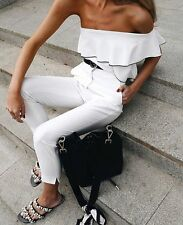Zara Off White Asymmetric Frilled Top Size MEDIUM BNWT