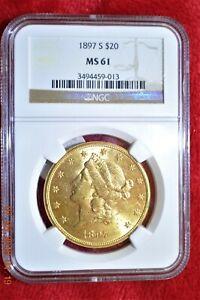 1897-S $20 Liberty Double Eagle MS-61 NGC