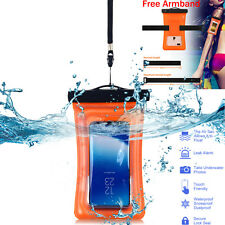 Waterproof Floating Phone Case Dry Bag Pouch W/strap FR iPhone 6 7 Plus Samsung Clear-orange