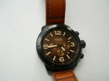 Fossil men's chronograph Brown leather band Analog & water resist watch.Ch-2666