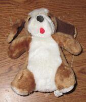 "Vintage 7"" Puppy Dog Tan Brown White Stuffed Animal Plush Jay Dee Toys 1984"