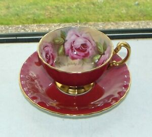 Aynsley Fine China Signed J A Bailey Cabbage Rose Cabinet Cup and Saucer Red