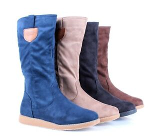 4 Color Fashion Zipper Faux Suede Western Women Knee-high Boots Low High Heels