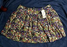 NWT BEBE Short Can Can Floral Skirt S MULTI-COLOR Purple black Green Red RAYON