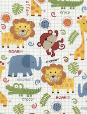 Fabric Zoo Animals All Over on Cotton 1 Yard
