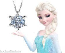 Eiskristall Frozen Elsa Halskette mit Kristal-Element blau