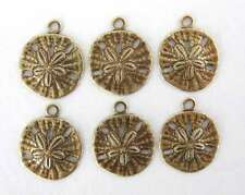 Antiqued Brass Ox Charm Ocean Sand Dollar Drop Round 13mm