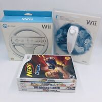 Nintendo Wii 4 Game Lot + Wii Steering Wheel & Nunchuck *NEW*