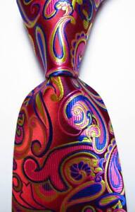 New Classic Paisley Red Gold Blue Pink JACQUARD WOVEN Silk Men's Tie Necktie