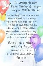 Waterproof Child/Baby loving memory Birthday Graveside Card  Memorial no b15
