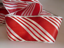 10 mm Red /& ivory transat Stripe Gros-Grain Ruban 1 m 5 m 10 m et 20 M longueurs