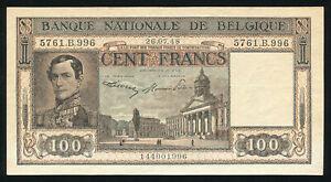 BELGIUM - 100 Francs 1948 Banknote Note - P 126(2) P126(2) (XF+)