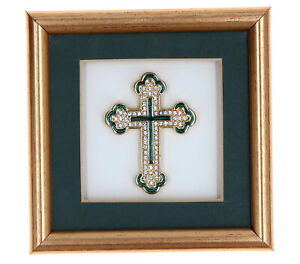 Small Framed Cross Forever Really Eternal Gold Plated & Chatton Stones