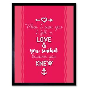 Family Love Smiled You Knew Art Print Framed Poster Wall Decor 12X16 Inch