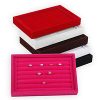 Velvet Jewelry Earrings Ring Display Organizer Case Tray Holder Storage Showc ZJ