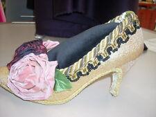Pincushion REAL LADIES SHOE Gold Metallic Jewelry Sewing Display Gift GORGEOUS!!
