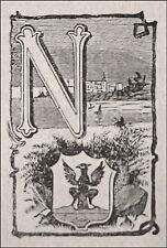 1871:NIZZA, MINIATURA STEMMA ARALDICO CITTA+Passepartout.Cento Citta, Ariodante