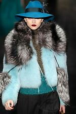 $16,000 RUNWAY NWT GUCCI AW11 38 BLUE Polar Fox Fur Jacket Coat Women Lady ITALY