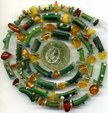 Roman Ancient Light Green Glass Beads Encrusted Tubes Disks Amber Heishi 26""