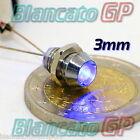 SPIA LED BLU 3V CON PORTALED IN METALLO 3mm SENZA CAVI