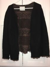 Sacai Black Alpaca Knit Cardigan With Brown Lace Interior, Size 40