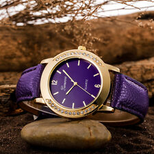 Fashion Women Geneva Crystal Stainless Steel Leather Quartz Analog Wrist Watches
