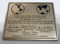 Final Mission Nasa Space Program Apollo 17 Moon Plaque Lapel Pin Cernan