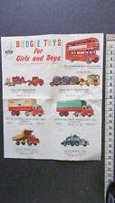 rare catalogue  feuillet BUDGIE TOYS véritable et ancien       dinky