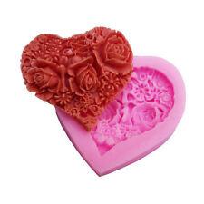 Mini Heart Rose Lace Silicone Soap Mould Sugar Craft 3D Fondant Cake Decorative