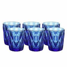 6PC Blue Diamond Pattern Casual Glass Water Drinking Cup, Vintage Drinkware