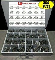 366 Piece Grade 10.9 Metric Flange Bolt & Flange Lock Nut Assortment Kit Black