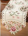 Embroidered Roses & Lace Valentines Day Decorative Tablecloth