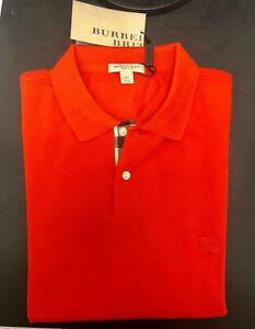 Burberry Brit Polo Shirt Long Sleeve- Bright Rowanberry 3872759- Size Large