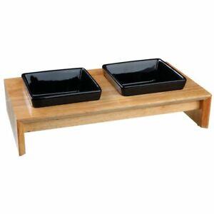 Ceramic & Wood Feeding Bowl Set For Your Cat
