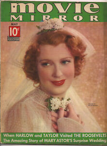 MOVIE MIRROR • MAY 1937 • JEANETTE MAC DONALD in bridal gown & veil on cover •