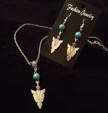 Turquoise Spear Head Arrow Necklace + Earring *SET* Native American Indian *UK**