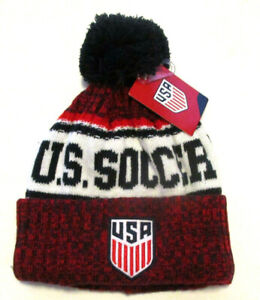 Team USA Fun Soccer Beanie, New Navy Blue Red White Sport MLS One Size